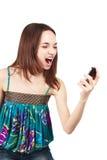 telefon komórkowy piękna przyglądająca kobieta Obraz Royalty Free