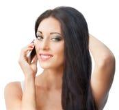 telefon komórkowy piękna kobieta Obraz Royalty Free
