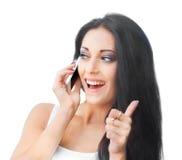 telefon komórkowy piękna kobieta Obrazy Royalty Free