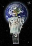 telefon komórkowy przelew pieniędzy Obrazy Stock