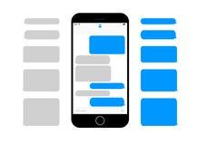 Telefon komórkowy przesyłanie wiadomości teksta parawanowi pudełka opróżniają bąble royalty ilustracja