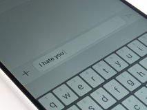 Telefon komórkowy wiadomość tekstowa fotografia stock