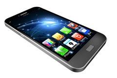 Telefon komórkowy z apps na białym tle, telefonu komórkowego illustrati Zdjęcia Stock