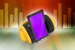 Telefon komórkowy z hełmofonami Zdjęcie Royalty Free