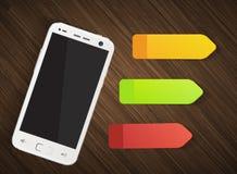 Telefon komórkowy z kolorowymi majcherami Obrazy Royalty Free