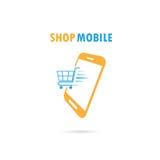 Telefon komórkowy z onlinym zakupy zastosowaniem internet backgraund laptopa na zakupach white Obraz Stock