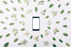 Telefon komórkowy z pustym ekranem wśród zielonych liści Obraz Royalty Free