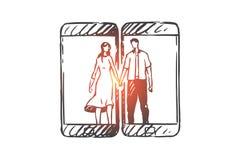 Telefon, komunikacja, wisząca ozdoba, miłość, pary pojęcie Ręka rysujący odosobniony wektor ilustracji