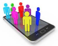 Telefon komunikacja Wskazuje sieć serweru I Komunikuje ilustracja wektor