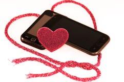 Telefon, Liebe, valentynki Lizenzfreie Stockbilder