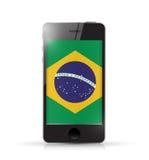 Telefon med design för Brasilien flaggaillustration royaltyfri illustrationer