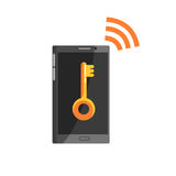 Telefon med det nyckel- tecknet på den svarta skärmen och symbolet för wi fi, illustration för cybersecuritytecknad filmvektor royaltyfri illustrationer
