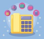 Telefon med ekonomi och finansiella symboler stock illustrationer