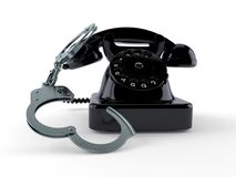 Telefon med handbojor vektor illustrationer