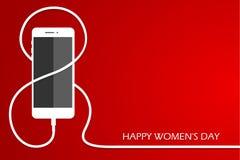 Telefon med linjen åtta tråd Laddning för smartphone för översikts8 mars, internationellt kort för dag för kvinna` s Eps1- stock illustrationer