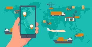 Telefon med manöverenhetsmobilen app för lastservice på en skärm För lägenhetbaner för logistiskt begrepp produktionsprocess från royaltyfri illustrationer