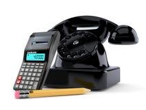 Telefon med räknemaskinen och blyertspennan vektor illustrationer