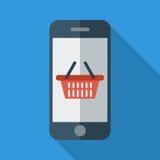 Telefon med shoppingkorgen vektor illustrationer