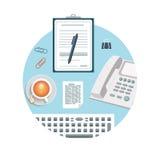 Telefon med skrivplattan och blyertspennan stock illustrationer