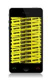 Telefon med varningsillustrationdesign Royaltyfri Bild