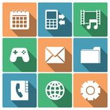 Telefon-Menü-Ikonen mit langen Schatten Lizenzfreie Stockbilder