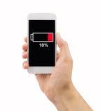 Telefon mit schwacher Batterie stockfotografie