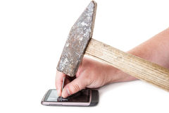 Telefon nailes mit einem Hammer Stockbilder