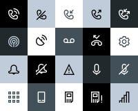 Telefon- och appelljournalsymboler. Lägenhet Arkivbilder