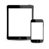 Telefon och bärbara datorer som isoleras på vit bakgrund Arkivfoto