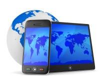 Telefon och minnestavla på vit bakgrund stock illustrationer