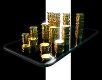 Telefon och pengar - illustration 3D stock illustrationer