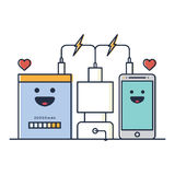 Telefon och uppladdare stock illustrationer