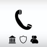Telefon plan symbol, vektorillustration Sänka designstil Royaltyfria Bilder