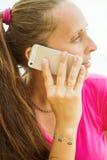 telefon powiedział, że kobiety Kobiety ręka z majcherów tatuażami Obraz Royalty Free