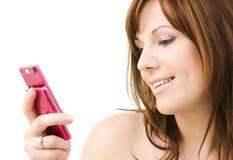 telefon różowa kobieta obrazy royalty free