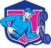 Telefon-Schlosser Holding Phone Shield Retro- Lizenzfreies Stockbild