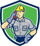 Telefon-Schlosser Phone Shield Cartoon Lizenzfreie Stockfotos