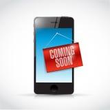 telefon som snart kommer teckenillustration Arkivbilder