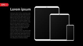 Telefon, Tablet-Computer, Mobile, stellte Modellzusammensetzung lokalisiert auf schwarzem Hintergrund mit leerem Bildschirm ein R Stockfoto
