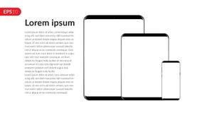 Telefon, Tablet-Computer, Mobile, stellte Modellzusammensetzung lokalisiert auf weißem Hintergrund mit leerem Bildschirm ein Real Stockfotos