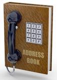 Telefon-und Adressbuch-Konzept - 3D Lizenzfreie Stockbilder