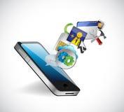Telefon und APP-Ikonenillustrationsdesign Stockfotografie