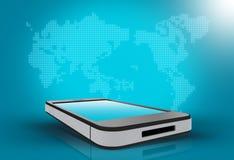 Telefon und eine Weltkarte auf blauem Hintergrund Stockbilder