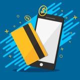 Telefon und Kredit für grafische Vektorillustrationen des molie Zahlungshintergrundes Stockfotografie