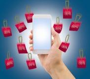 Telefon und Regen des Verkaufs Stockfotos