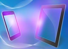 Telefon und Tablette auf einem abstrakten Hintergrund Lizenzfreies Stockfoto