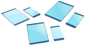Telefon und Tablette von den verschiedenen Seiten in 3D stock abbildung