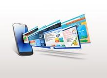 Telefon z ilustracją szablon strona internetowa Obraz Stock