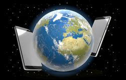 Telefona l'universo 3d-illustration delle stelle del mondo Fotografia Stock