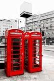 Telefonaskar, London, UK. Royaltyfri Foto